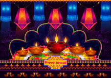 Light festival of India Happy Diwali celebration background. In vector Royalty Free Stock Images