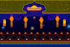 Light festival of India Happy Diwali celebration background. In vector Royalty Free Stock Photo