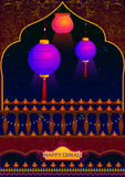 Light festival of India Happy Diwali celebration background. In vector Royalty Free Stock Image
