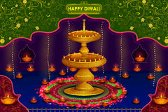 Light festival of India Happy Diwali celebration background. In vector Royalty Free Stock Photos