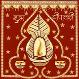 Light festival of India Happy Diwali celebration background. Light festival of India celebration background in vector with greetings meaning Happy Diwali Royalty Free Stock Image