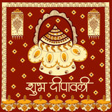 Light festival of India Happy Diwali celebration background. Light festival of India celebration background in vector with greetings meaning Happy Diwali Royalty Free Stock Images