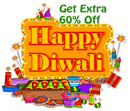 Light festival of India Happy Diwali discount sale promotion offer banner. In vector Stock Photo