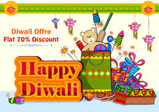 Light festival of India Happy Diwali discount sale promotion offer banner. In vector Stock Images