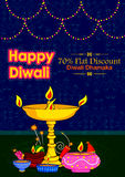 Light festival of India Happy Diwali discount sale promotion offer banner. In vector Royalty Free Stock Photos