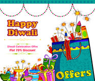 Light festival of India Happy Diwali discount sale promotion offer banner. In vector Stock Image