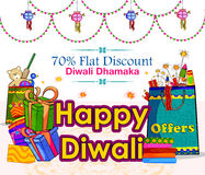 Light festival of India Happy Diwali discount sale promotion offer banner. In vector Stock Photography