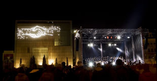 Light Festival in Leipzig, 9th October 2009. Open air orchestra concert as part of the celebrations of the 20th anniversary of the Peaceful Revolution on October Stock Photography