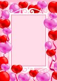 Light Festive Invitation Card Template. With elegant frame and colorful balloons in heart shape vector illustration Stock Photo