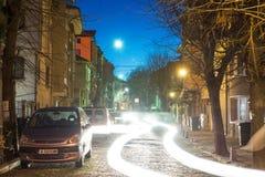 Light figures of the night Pomorie, Bulgaria royalty free stock photo