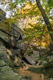 Autumn light at Purgatory Chasm. Light filtering through fall foliage onto granite slabs at Purgatory Chasm State Reservation Royalty Free Stock Photos