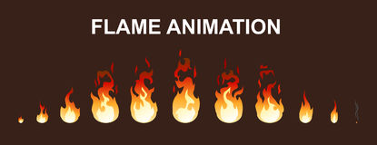 Light Fire Flames Animation Collection. For game design or applications in flat style isolated vector illustration Royalty Free Stock Image