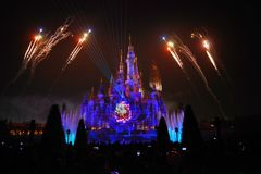 Light and fireworks show in Shanghai disneyland Stock Image