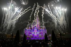 Light and fireworks show in Shanghai disneyland Stock Images