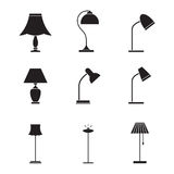 Light fixture icons. Lamps and lighting devices Stock Photography