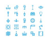 Light fixture, lamps flat line icons. Home and outdoor lighting equipment - chandelier, wall sconce, bulb, power socket. Vector illustration, signs for Royalty Free Stock Photo