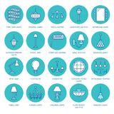 Light fixture, lamps flat line icons. Home and outdoor lighting equipment - chandelier, wall sconce, desk lamp, light. Bulb, power socket. Vector illustration Stock Image