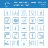 Light fixture, lamps flat line icons. Home and outdoor lighting equipment - chandelier, wall sconce, desk lamp, light. Bulb, power socket. Vector illustration Royalty Free Stock Photos