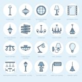 Light fixture, lamps flat line icons. Home and outdoor lighting equipment - chandelier, wall sconce, desk lamp, light. Bulb, power socket. Vector illustration Royalty Free Stock Image