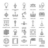 Light fixture, lamps flat line icons. Home and outdoor lighting equipment - chandelier, wall sconce, desk lamp, light. Bulb, power socket. Vector illustration Royalty Free Stock Photo