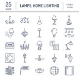 Light fixture, lamps flat line icons. Home and outdoor lighting equipment - chandelier, wall sconce, desk lamp, light. Bulb, power socket. Vector illustration Royalty Free Stock Images