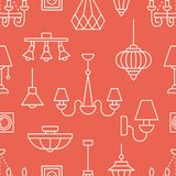 Light fixture, lamps seamless pattern, illustration. Vector icons of home lighting equipment - chandelier, power socket. Repeated background for interior store Royalty Free Stock Photos