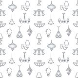 Light fixture, lamps seamless pattern, line illustration.  Royalty Free Stock Image