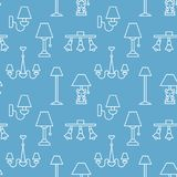 Light fixture, lamps seamless pattern, line illustration. Vector icons of home lighting equipment - chandelier, desk. Wall lamp. Blue repeated background for Stock Images