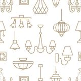 Light fixture, lamps seamless pattern, line illustration. Vector icons of home lighting equipment - chandelier, table. Lamp, power socket. Repeated background Stock Photography