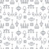 Light fixture, lamps seamless pattern, line illustration. Vector icons of home lighting equipment - chandelier, table. Lamp, power socket. Repeated background Stock Images