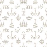 Light fixture, lamps seamless pattern, line illustration. Vector icons of home lighting equipment - chandelier, table. Light fixture, lamps seamless pattern Stock Images