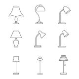 Light fixture outline icons. Light fixture linear icons: Lamps and lighting devices Stock Image