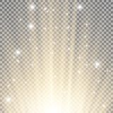Light flare from below. With sparkles on transparent background, golden color Stock Photo