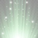Light flare from below. With sparkles on transparent background, green color Royalty Free Stock Photography