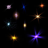 Light Flare Effects. Collection of various forms of Flares,with black background royalty free stock photos