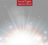 Light flare special effect with rays of light and magic sparkles. Vector illustration. Royalty Free Stock Photo