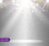 Light flare special effect with rays of light and magic sparkles. Vector illustration. Stock Photos