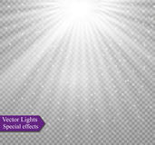 Light flare special effect with rays of light and magic sparkles. Vector illustration. Stock Images