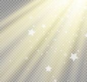 Light flare special effect with rays of light and magic sparkles. Royalty Free Stock Image