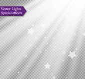 Light flare special effect with rays of light and magic sparkles. Stock Image