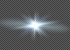 Light flare special effect with rays of light and magic sparkles. Glow transparent vector light effect set, explosion, glitter, sp. Ark Royalty Free Stock Images