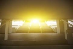 Light flare through the stairways Royalty Free Stock Photo
