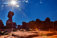 Light Flare Sun Rock Pillar Sandstone Hoodoos Garden of Eden Arc Stock Images