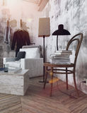 Light flares in portrait of room. Sunlight flares in frame of 3D render of modern room decorated with unfinished walls, wooden floors and chair with books on it Stock Images