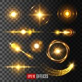 Light flash effect icon or vector lens flare shine. Light flashes, sun beams and star lights  icons on transparent background. Vector set of shining beam with Stock Photography