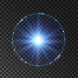 Light flash, lens flare or star explosion Stock Photo