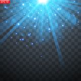 Light flash of the sun,. Bright light, star flashes stock illustration