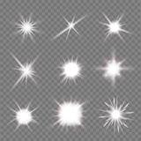 Light flashes. Set of light flashes over transparent background. vector illustration Stock Photography