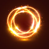 Light flashes and sparkler lights circles. Bursting and sparkling light flashes or sparkler lights traces. Circles of bright burning fire with shiny glitter Royalty Free Stock Photo