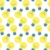 Light flat lamp idea symbol. Seamless pattern. Vector flat design bulb Royalty Free Stock Image